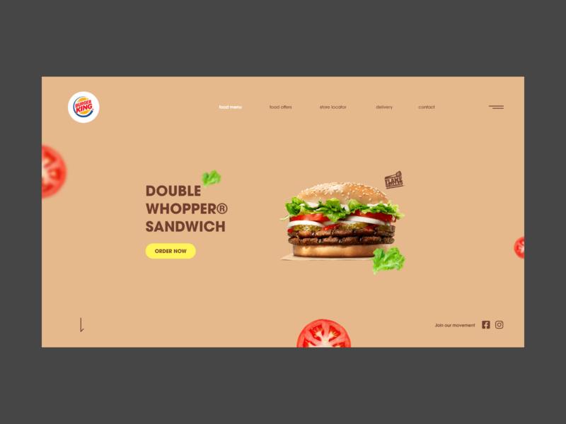 Burger King Redesign modern header concept landing page adobexd userinterface ux ui