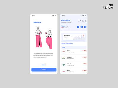 MoneyX bank money minimalistic userinterface modern adobexd ux ui