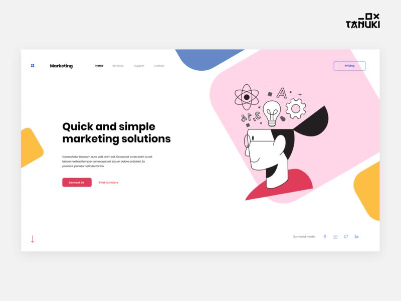 Marketing Company header minimalistic userinterface concept modern landing page figma design ux ui