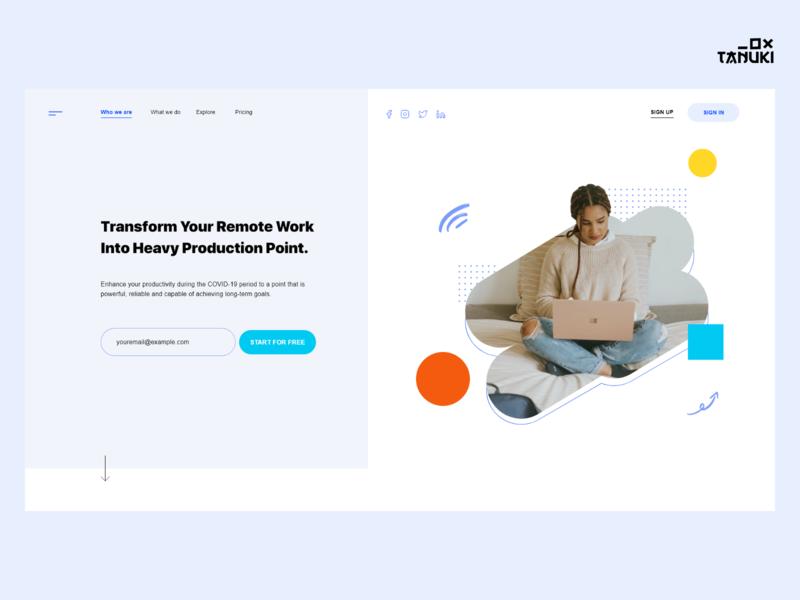 Remote Solutions saas design header minimalistic userinterface concept modern landing page adobexd ux ui