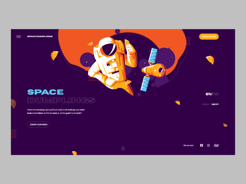 Space Dumplings header website minimalistic userinterface concept modern landing page adobexd ux ui