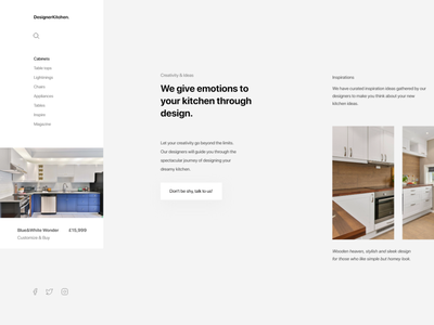 designerkitchen   dribbble e-commerce userinterface concept modern landing page kitchens furniture kitchen adobexd ux ui