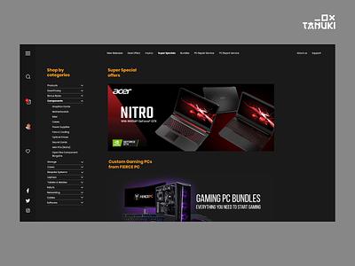 PC shop store e-commerce minimalistic modern concept landing page adobexd ux ui