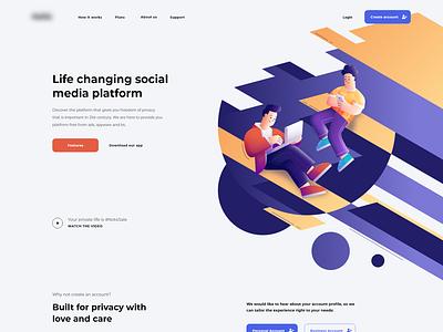 Social Media Platform concept modern social media minimalistic landing page adobexd userinterface ux ui