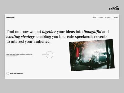HelloEvents Concept brutalism header concept minimalistic userinterface figma design figma ux ui