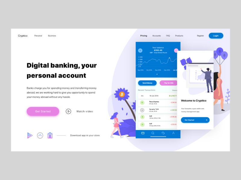 Cryptico - web ios android landing page website ux ui modern currency digital bank crypto app banking mobile adobexd