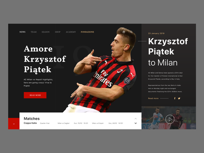 AC Milan Site store userinterface fan news site krzysztof piątek football ac milan minimalistic concept modern header website web design adobexd ux ui landing page
