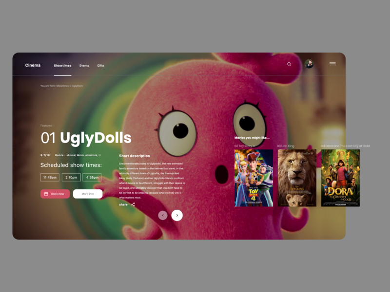 Cinema Website - Movie view musical film cinema movies web design userinterface minimalistic header concept website modern landing page ux ui