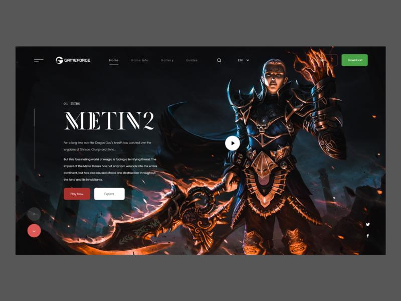 Metin 2 Redesign metin2 game design mmo games web design userinterface header concept website modern landing page adobexd ux ui
