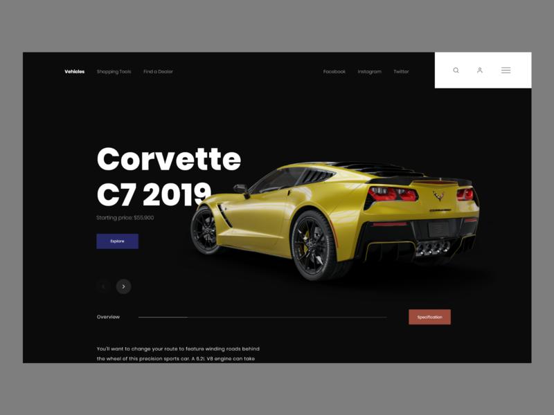 Corvette dealer shop minimalistic userinterface concept website modern landing page adobexd ux ui