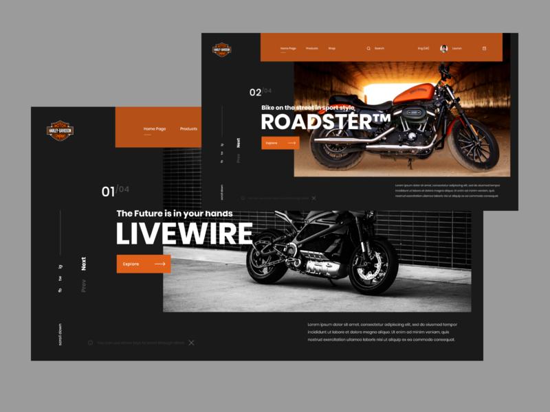 Harley-Davidson Exploration web design header minimalistic userinterface concept website modern landing page adobe xd ux ui