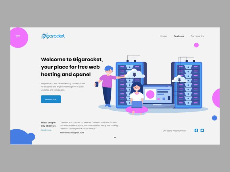 Gigarocket web hosting header userinterface web design concept website modern landing page adobexd ux ui