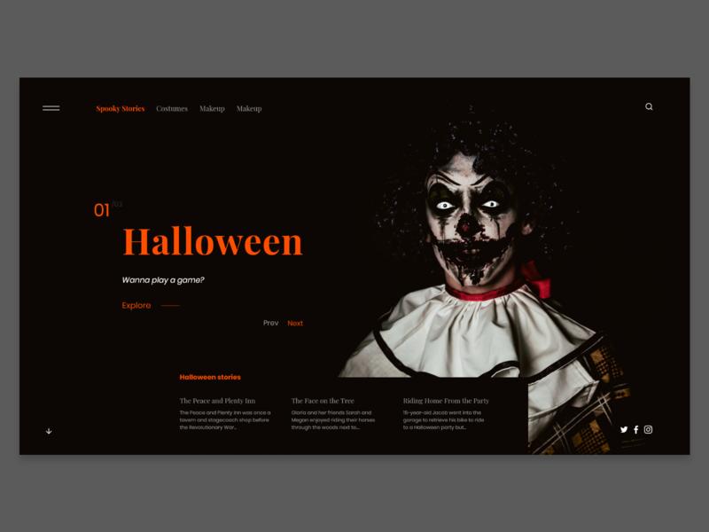 Halloween Exploration header userinterface concept website modern landing page adobexd ux ui clowns scary halloween