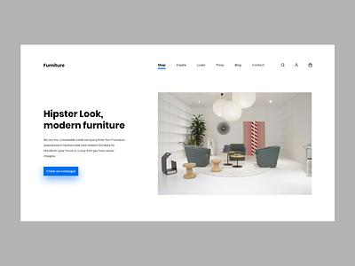 Furniture Store web design minimalistic userinterface concept website modern landing page adobexd ux ui