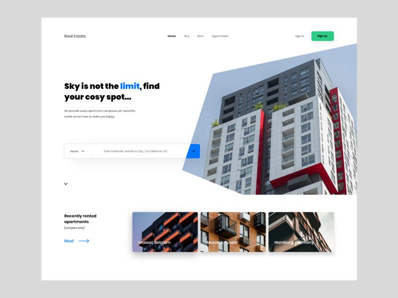 Real Estate web design minimalistic userinterface concept website modern landing page adobexd ux ui