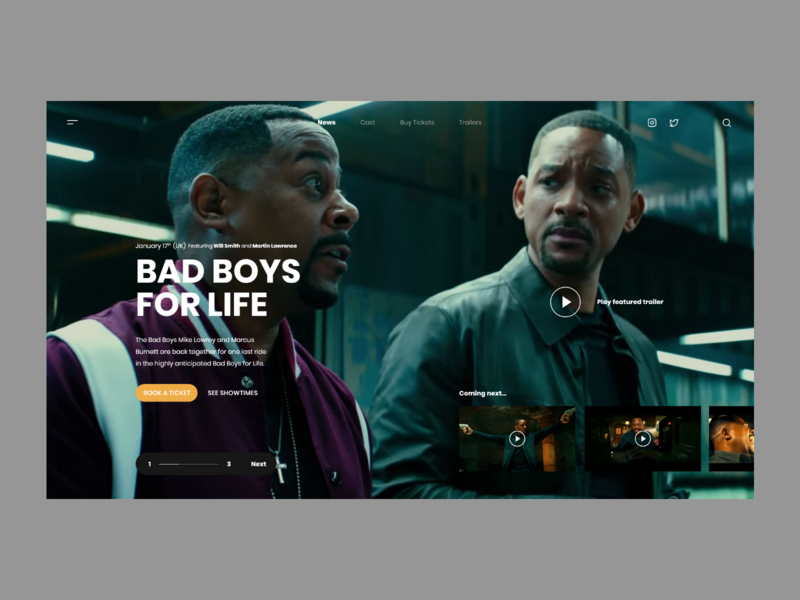 Bad Boys For Life minimalistic userinterface concept website modern landing page adobexd ux ui