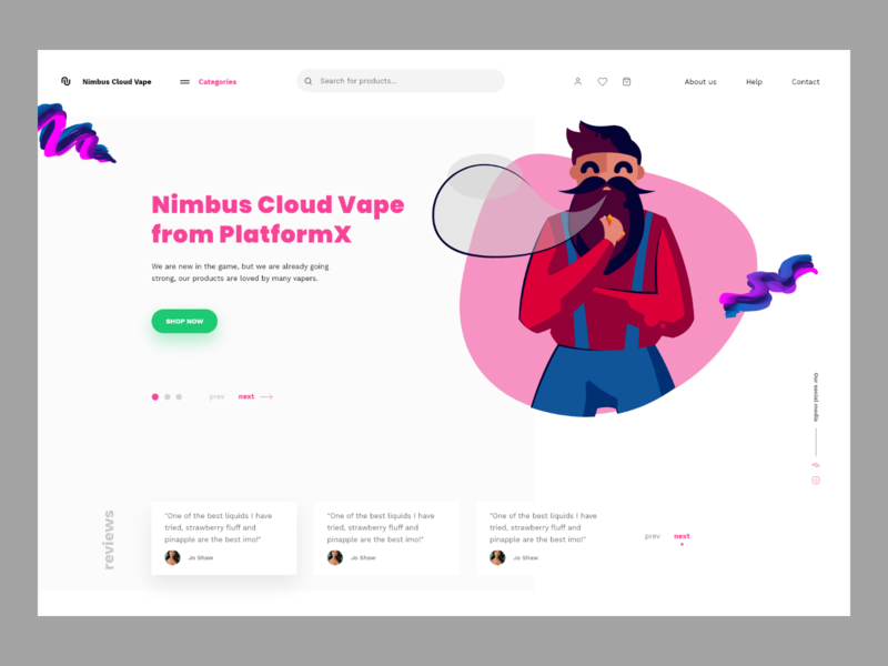 Nimbus Cloud Vape illustration userinterface e-commerce concept website modern landing page adobexd ux ui