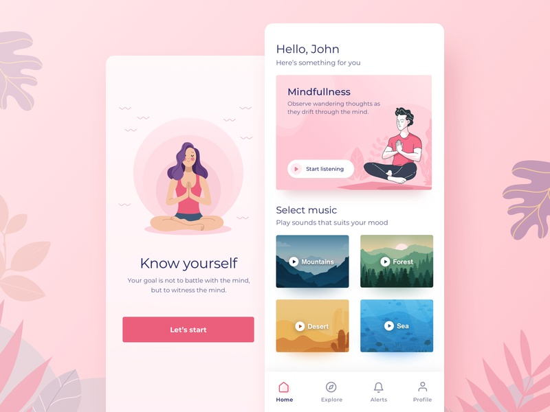 Meditation app yoga mindfulness environment music interface minimalist splash ios illustration home ui  ux relax mobile meditation meditate iphone design dashboad concept app