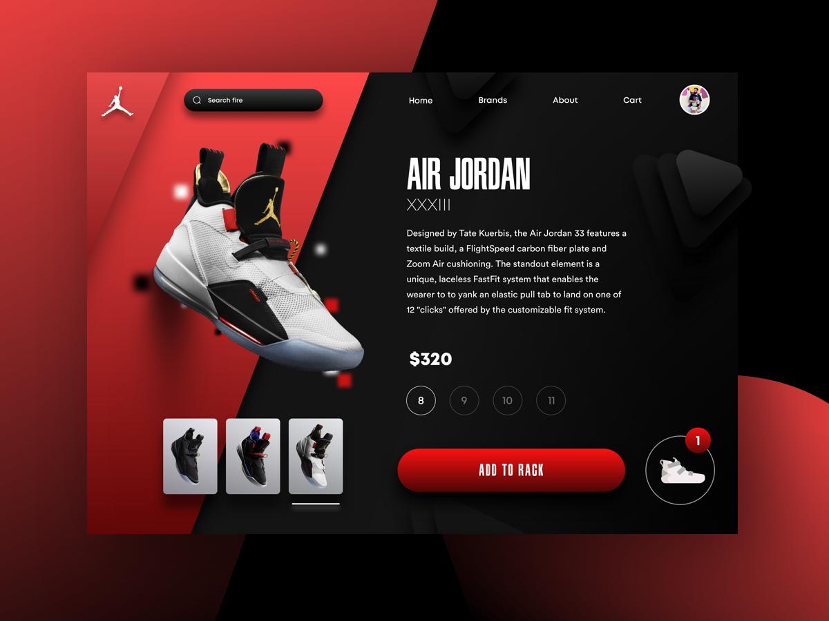 Jordan 33 detail add to cart selections nike air max myntra nike air sketch 3d red black nike minimalist abstact ecommerce sneakers jordans design ui uiux website