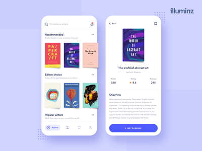 Reading App amazon flat reading read ux ui typogaphy iphone x shadows cards ui novels books whitespace purple ios app minimal uidesign kindle ebook reading app