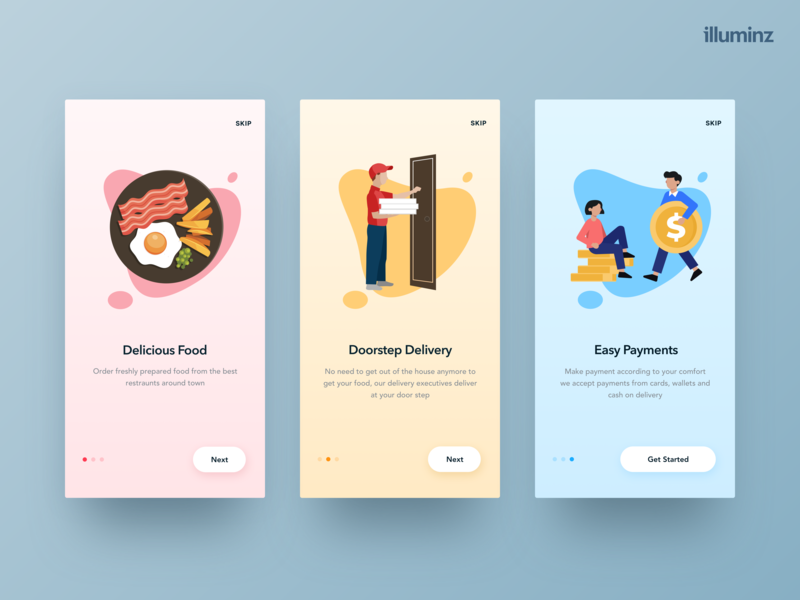 Food app - Onboarding Screens app design food delivery app payment food app pastel colors gradient mobile ios walktrough clean vector colors uidesign onboarding illustration graphics