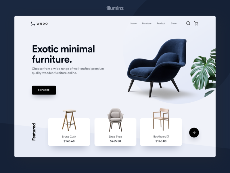 Minimal Furniture Landing Page uidesign ios concept interaction design uiux chair room website design web design ux minimalism interior design website store furniture ecommerce design decor
