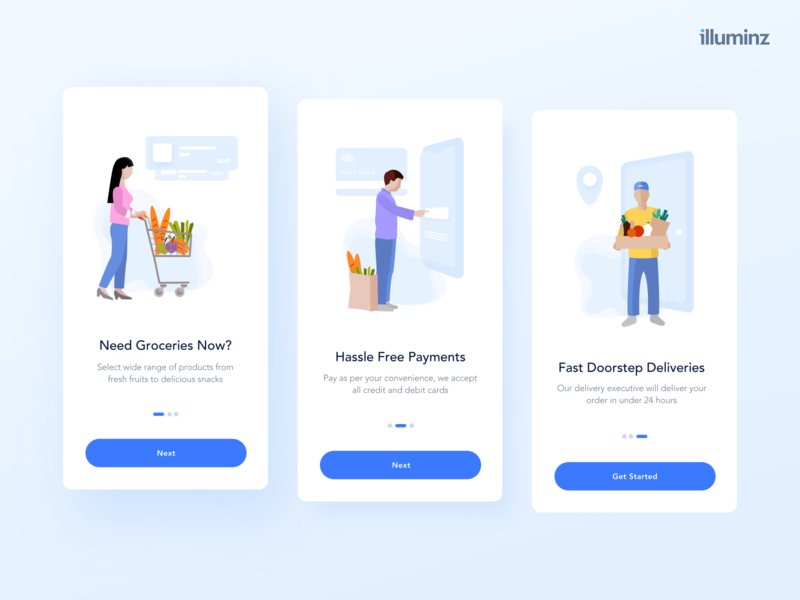 Onboarding Screens - Online Grocery Shopping cart delivery payments walkthrough vector uidesign ios concept minimalist shadows typography app concept android app e commerce grocery app onboarding ui ui  ux illustration design app