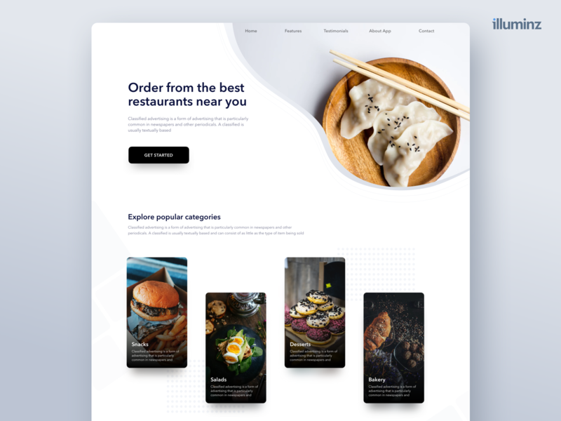 Food Ordering Website - Landing Page minimalist uidesign ios interface food food app ordering zomato swiggy cocept website design web ui  ux product design ui landing page cooking cook categories