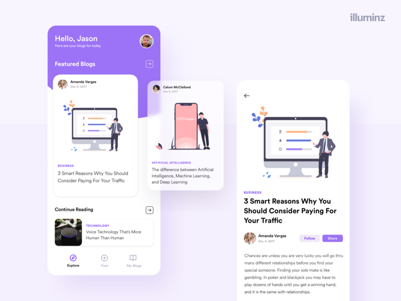 Blog App business corporate interface flat minimal design cards layout ios ui illustration concept minimalist design uiux app design blog post blog design blog