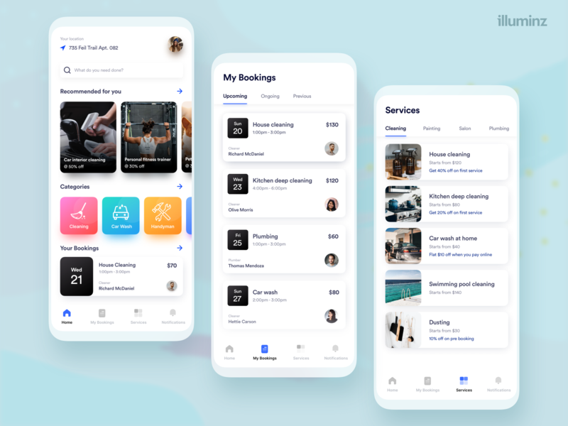 On demand services app clean ui shadows booking app uidesign concept minimalist cleaning carwash services uiux ondemand listing ios cards app design app android