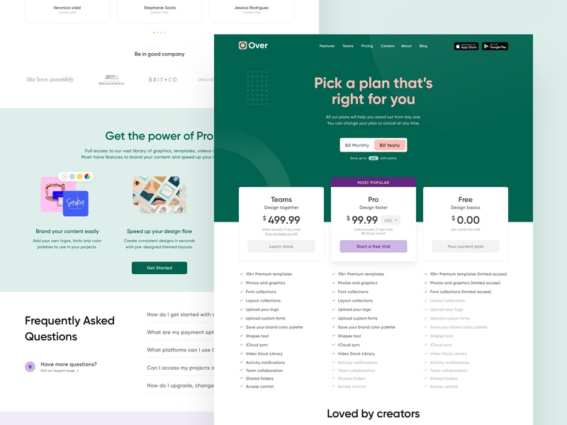 Pricing Page for Over Web design billing product design webflow ux ui user flow pricing