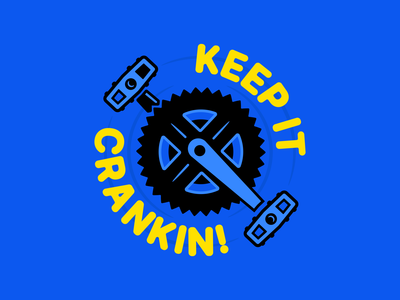 Nice and Steady! type spin crank bike yellow blue clean flat typography illustrator vector minimal illustration