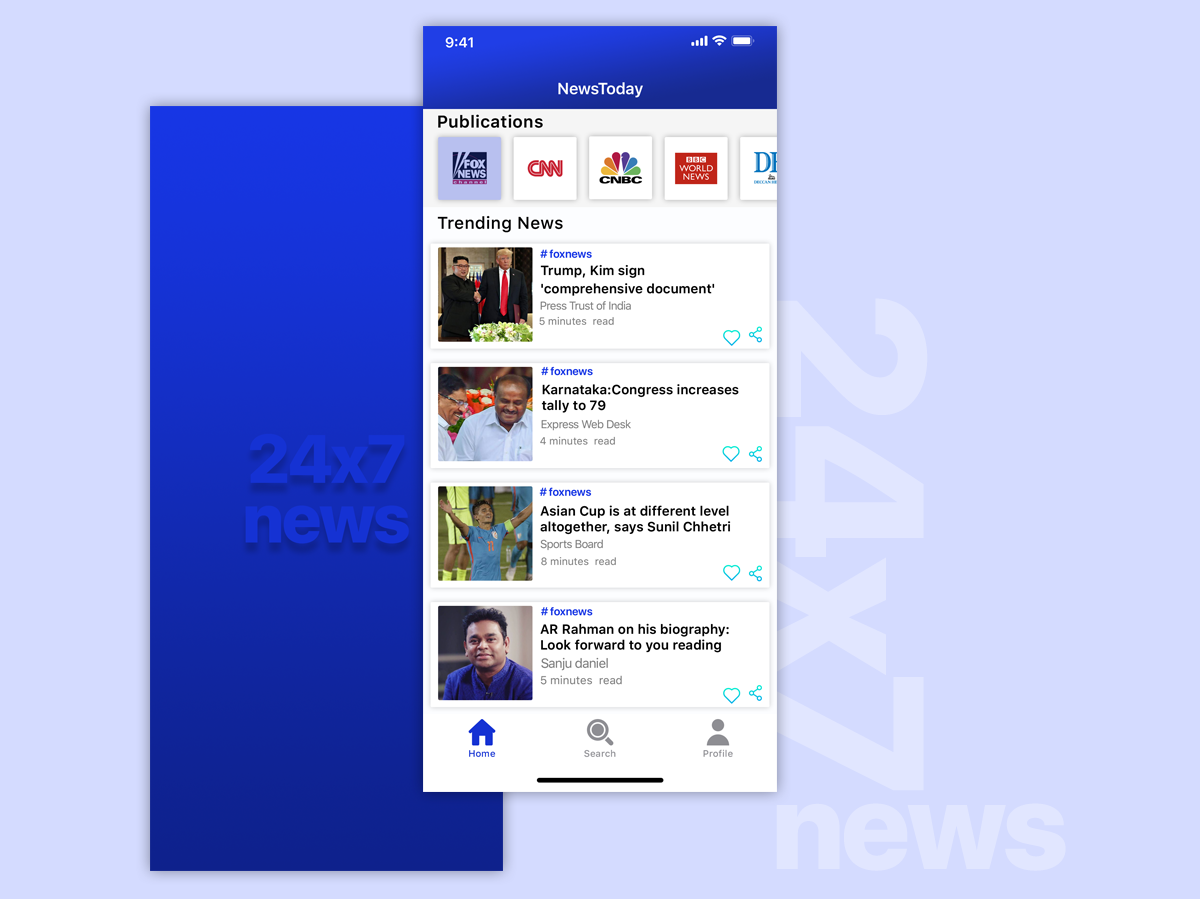 news app home screen fox iphone 10 ios 10 user news homescreen news feed news app mobile user center design branding app minimal uidesign ios ui android design ux