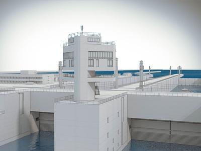 Gabcikovo dam technical illustration design 3d
