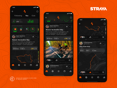 Strava App Dark Mode Redesign dark mode mobile ui mobile app design strava