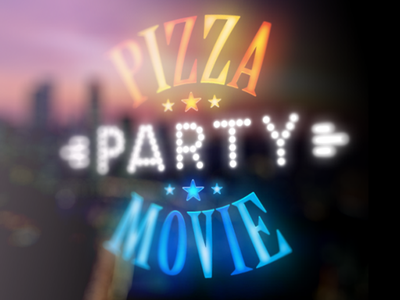 Pizza-Movie-Party glowing logo pizza movie party