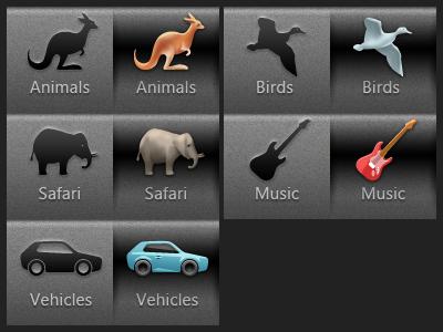 Toolbar for sounds icons toolbar animals bird guitar car silhouette