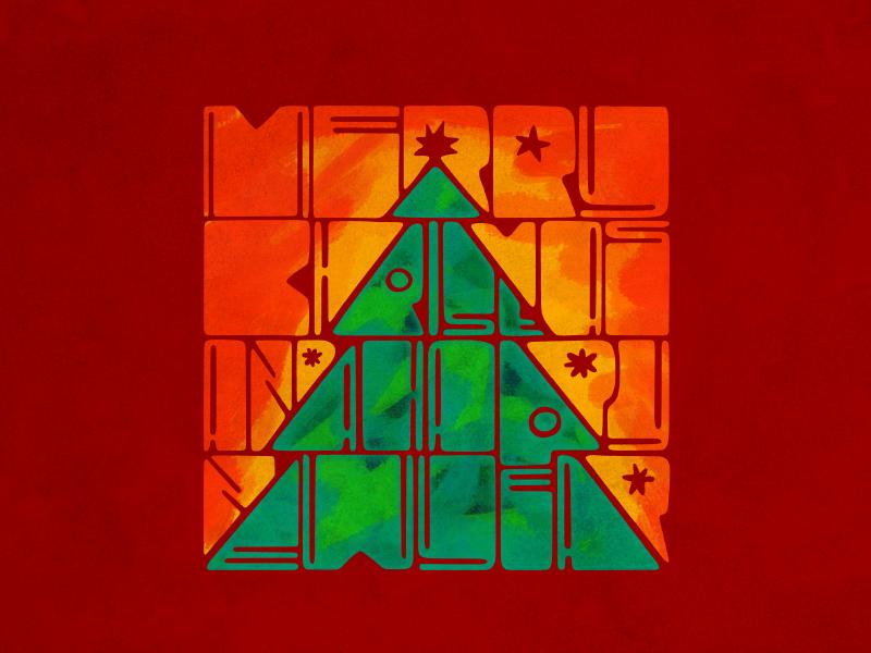 Merry Xmas! christmas tree typo typography new year