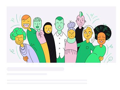 Workplace diversity blogpost illustration header header illustration team vector illustration