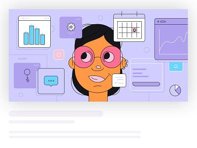 The HR manager header header illustration portrait vector illustration