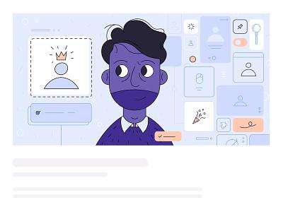 The Recruiter header header illustration avatar portrait vector illustration