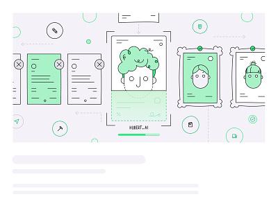 Resume screening ai drawing header illustration vector illustration