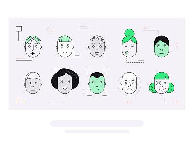 Interview analysis facial recognition facial expressions portrait avatar faces ai header illustration header design vector illustration