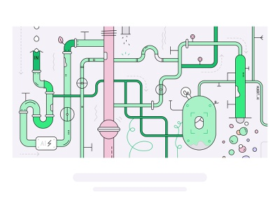 The AI recruiting engine system pipes ai engine header illustration design vector illustration