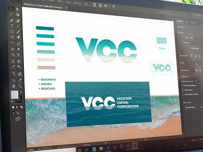 VACATION CAPITAL CORPORATION blue color guide water designer bahamas waves beach resort brand art icon branding design logo minimal