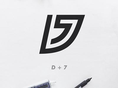 DIVISION 7 bold construction art monogram illustrator vector minimal illustration icon branding logo design