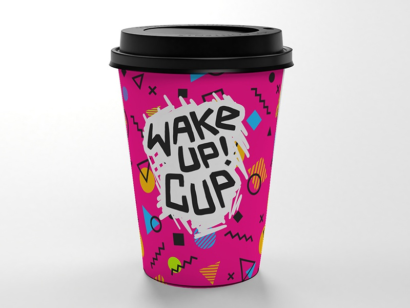 Wake up in colors wake up energy cup cup of coffee cup mockup cup design lettering art vector trendy graphics energy arthouse art design illustration 2d