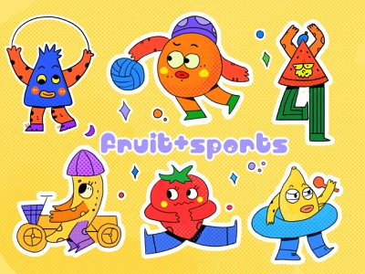 fruit&sports flat illustration illustration
