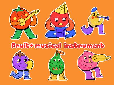 fruit&music instrument design flat illustration illustration