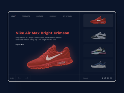 Bright Crimson User Interface landing page design